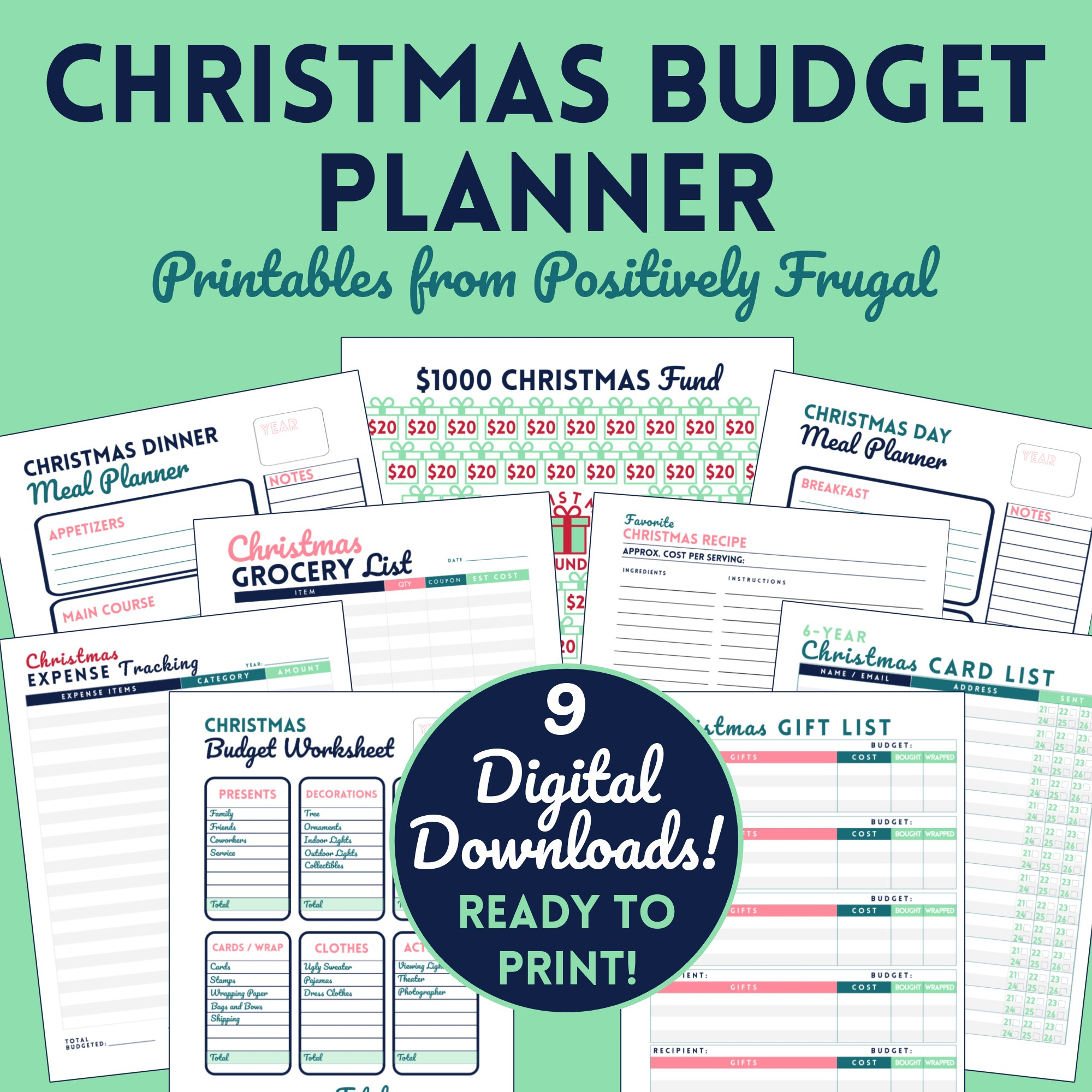 Christmas Budget Planner Bundle Etsy by PositivelyFrugal.com