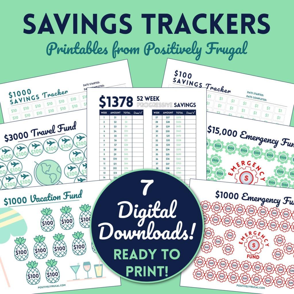 Savings Tracker Printables by PositivelyFrugal.com