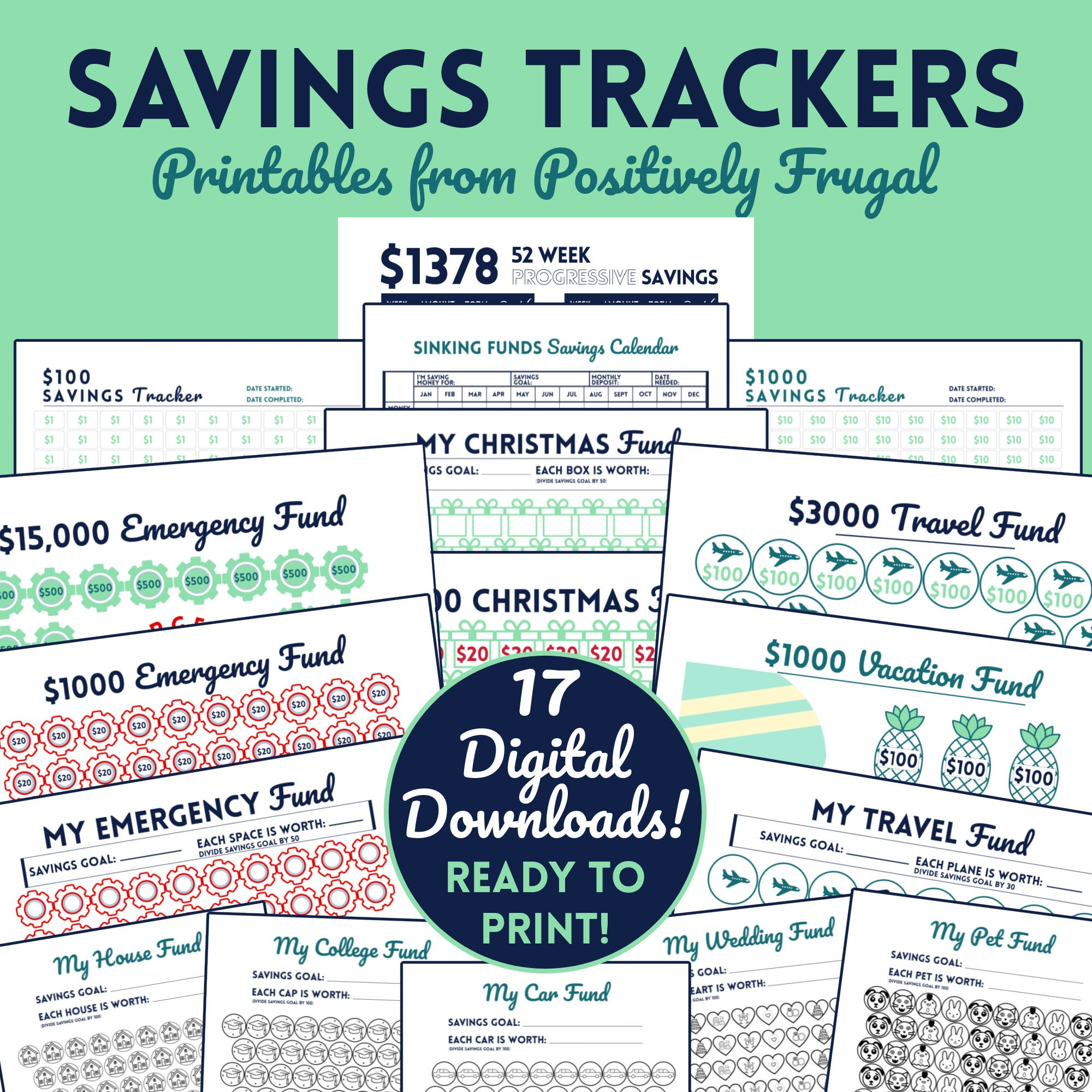 Savings Trackers 17 Printables Etsy by PositivelyFrugal.com