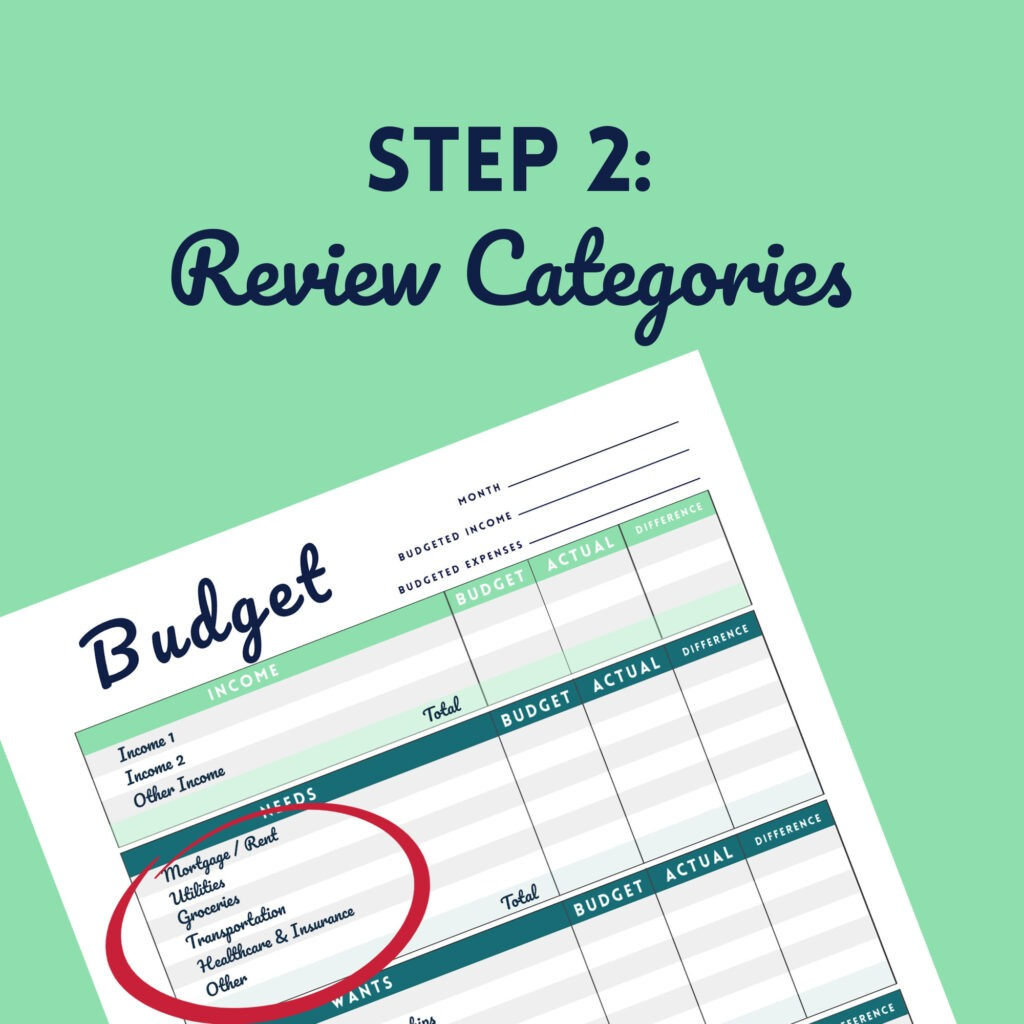 Step 2 Review Categories of Printable Budget