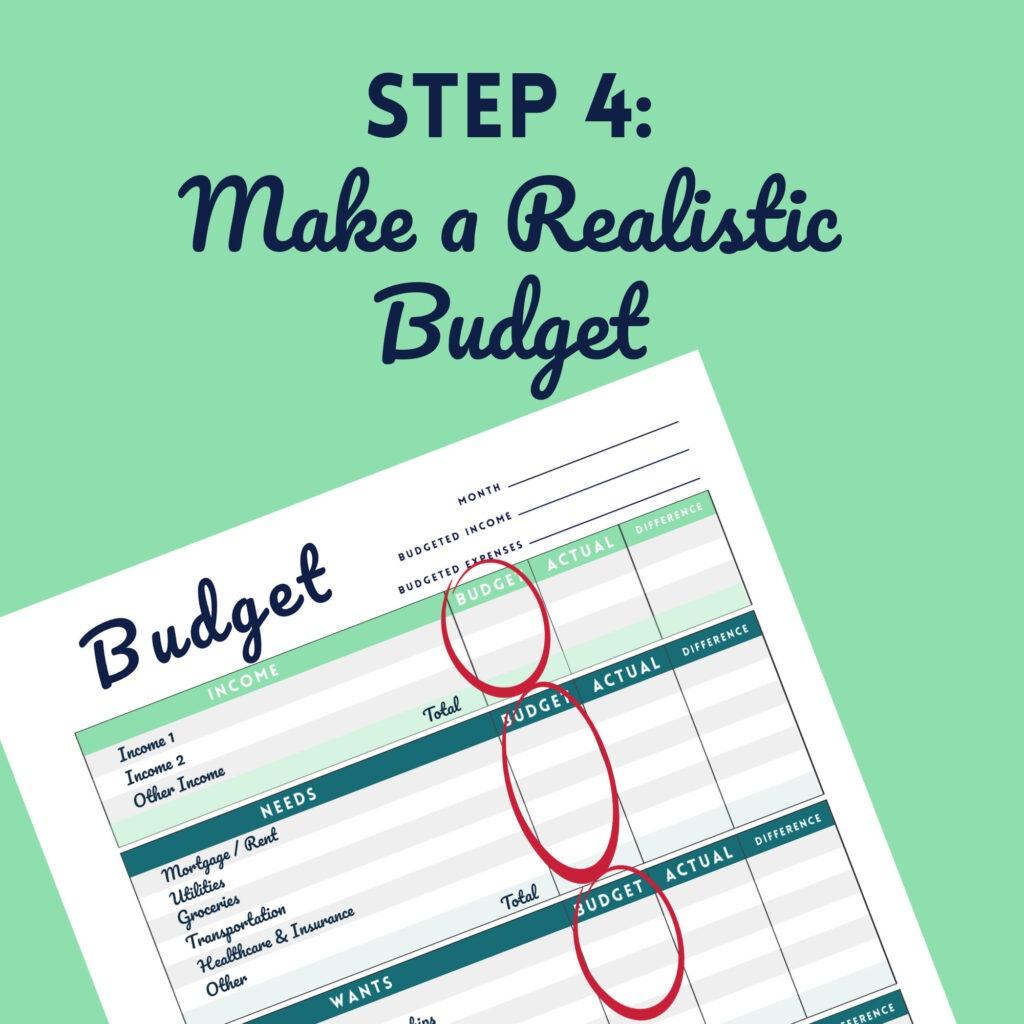 Step 4 Make a Realistic Budget