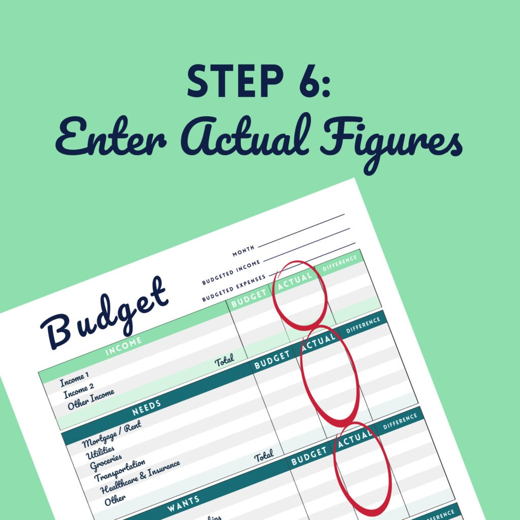 Step 6 Enter Actual Figures in the Free Budget Printable