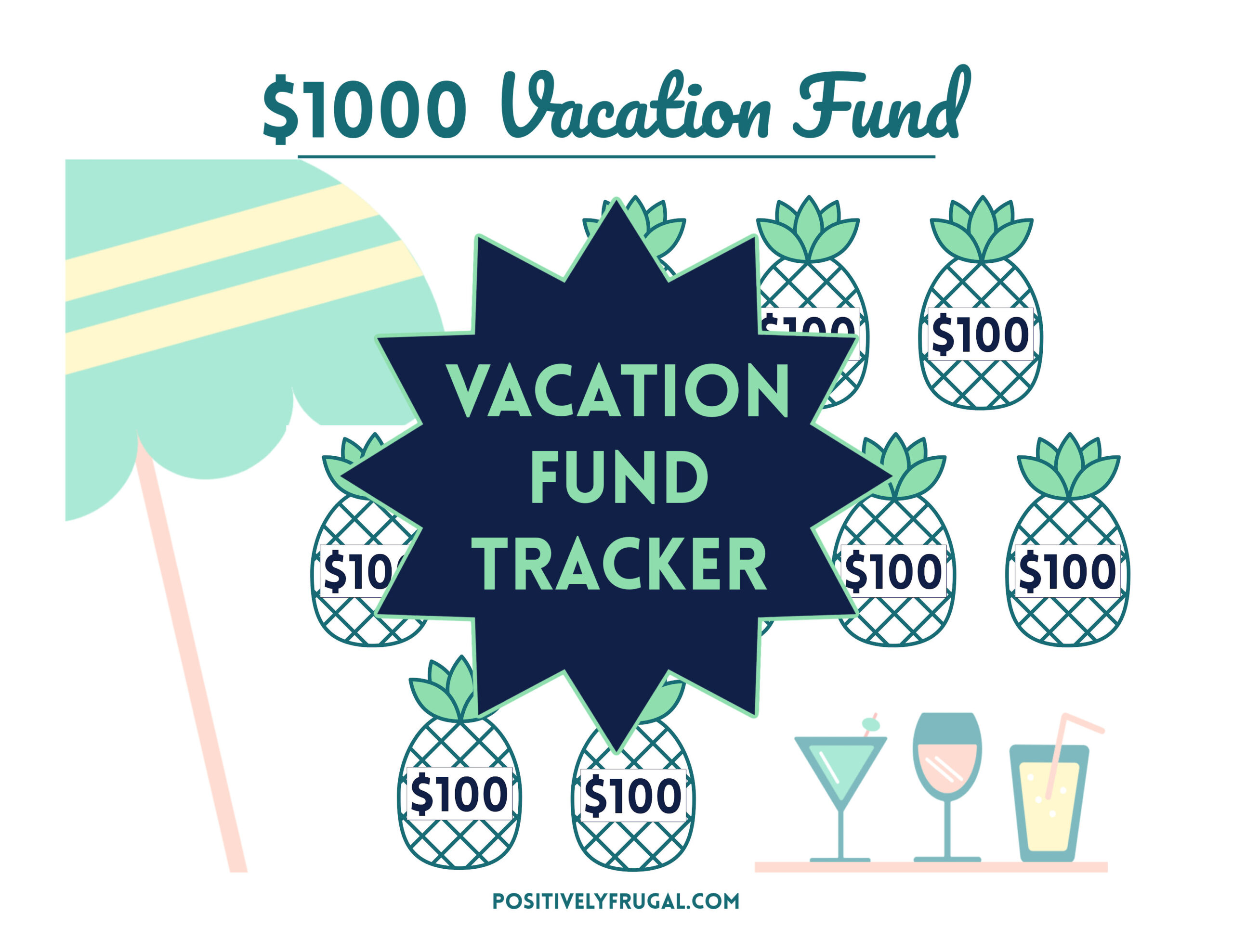 Vacation Fund Tracker by PositivelyFrugal.com